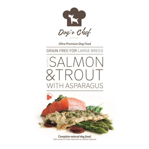 DOG'S CHEF Atlantic Salmon & Trout with Asparagus for LARGE BREED 15kg