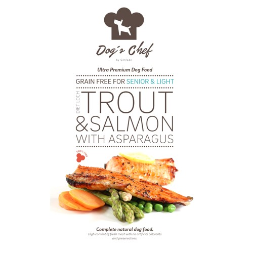 DOG'S CHEF Diet Loch Trout & Salmon with Asparagus SENIOR & LIGHT 12kg