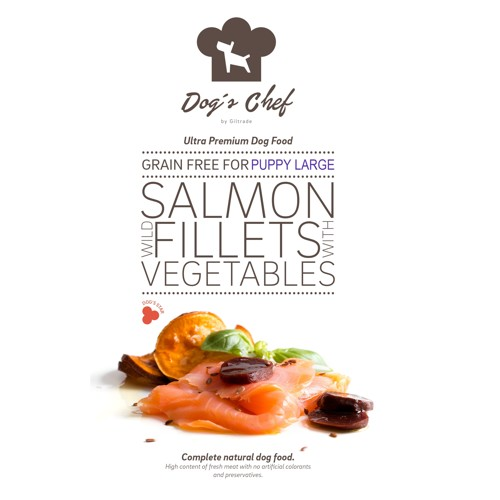 DOG'S CHEF Wild Salmon fillets with Vegetables for LARGE BREED PUPPIES 15kg