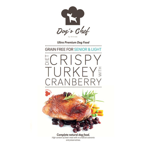 DOG'S CHEF Diet Crispy Turkey with Cranberry for SENIOR & LIGHT 2kg